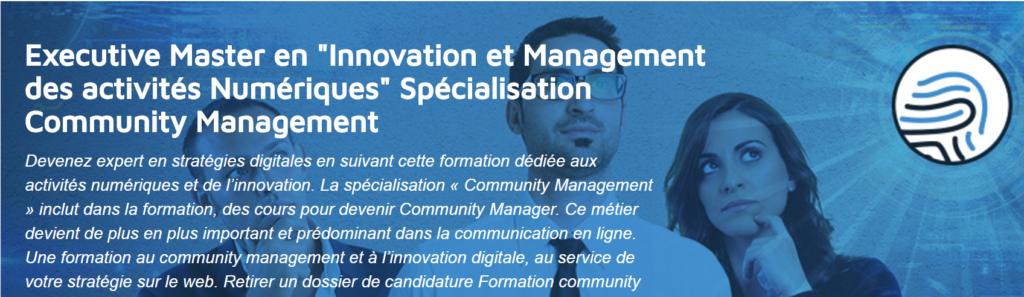 """Executive Master en """"Innovation et Management des activités Numériques"""" Spécialisation Community Management - AndilCampus"""